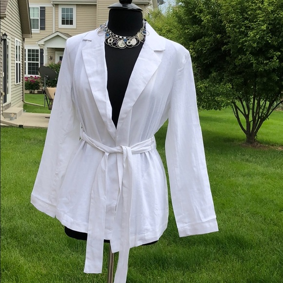 Who What Wear Jackets & Blazers - Who What Wear White Linen Belt Tie Blazer M NWT